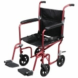 Drive Medical Flyweight Lightweight Red Transport Wheelchair, Removable Wheels 19 Inch Seat Red