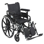 Drive Medical Viper Plus GT Wheelchair w Flip Back Removable Adjustable Full Arm and Leg Rest 16 Inch Seat Black
