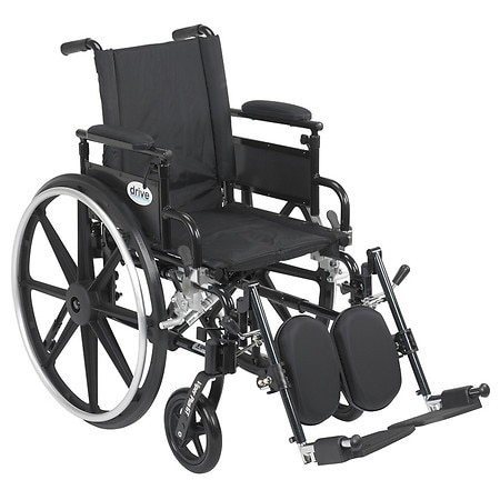 Drive Medical Viper Plus GT Wheelchair w Flip Back Removable Adjustable Desk Arm and Leg Rest 18 Inch Seat Black