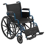 Drive Medical Streak Wheelchair, Flip Back Desk Arms, Swing Away Footrest 16 Inch Seat Blue