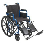 Drive Medical Wheelchair with Flip Back Desk Arms and Elevating Leg Rests 16 Inch Seat Blue