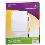 Wexford Index Dividers Write Erase with Pocket 9.75 inch x 11.25 inch White