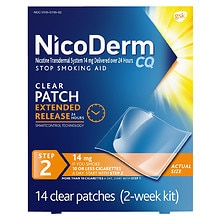 Nicoderm CQ Smoking Cessation Aid, Step 2 14mg Clear