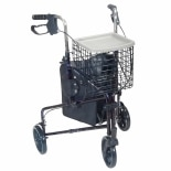 Drive Medical 3 Wheel Flame Roller Walker with Basket, Tray, and Pouch Blue