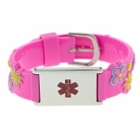 Hope Paige Flower Power - Rubber Watch Band Bracelet - Medical ID Pink