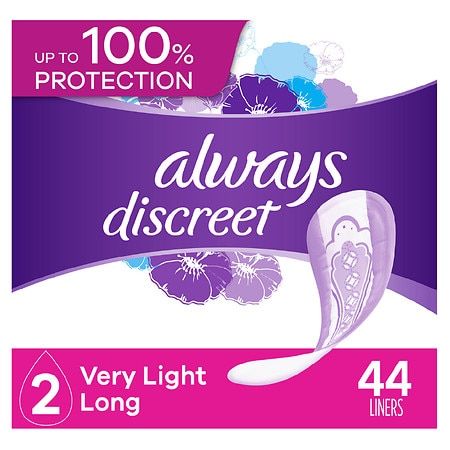Always Discreet Incontinence Liners, Very Light, Long Length