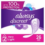 Always Discreet Incontinence Liners, Very Light Absorbency Regular