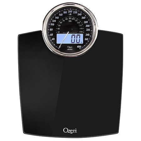 ozeri rev digital bathroom scale with electro mechanical weight dial black walgreens