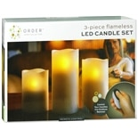 LED 3 Piece Candle Set With RemoteWhite