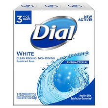 Dial Antibacterial Deodorant Soap, 4oz Bars White