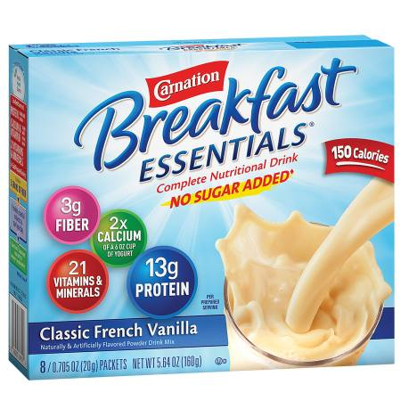 Carnation Breakfast Essentials Complete Nutritional Drink, No Sugar Added, Packets Classic French Vanilla, 8 pk