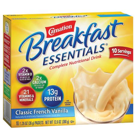 Carnation Breakfast Essentials Complete Nutritional Drink, Packets Classic French Vanilla,10 pk