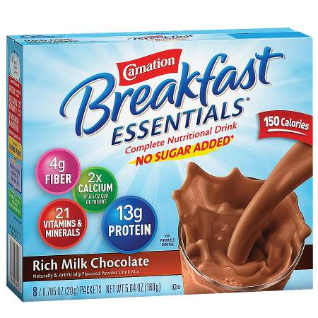 Carnation Breakfast Essentials Complete Nutritional Drink, No Sugar Added, Packets Rich Milk Chocolate,8 pk