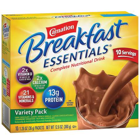 Carnation Breakfast Essentials Complete Nutritional Drink, Packets Variety Pack,10 pk