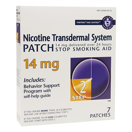 Habitrol Nicotine Transdermal System Stop Smoking Aid Patch, 14 mg Step 2 Health Fitness Skin Care Beauty Supply Deals