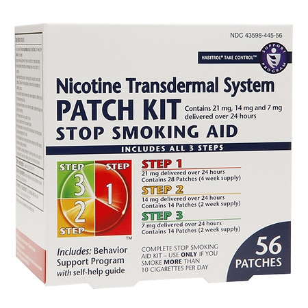 Habitrol Nicotine Transdermal System Stop Smoking Aid Patch Kit Steps 1,2,3 - 56 ea