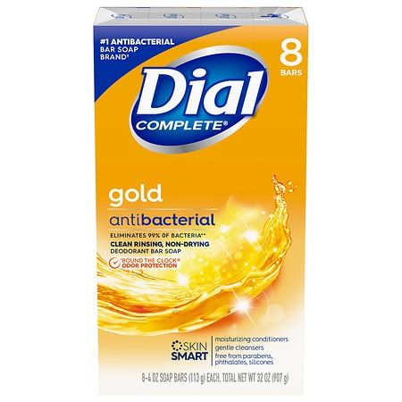 Dial Antibacterial Deodorant Soap Bars 8 Pack Gold