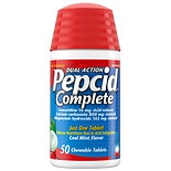 Pepcid Complete Acid Reducer + Antacid Chewable Tablets Cool Mint Flavor