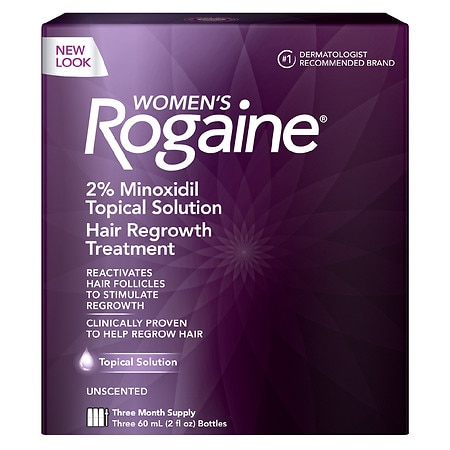 Women's Rogaine Hair Regrowth Treatment Topical Solution 3 Pack 3 Month Supply