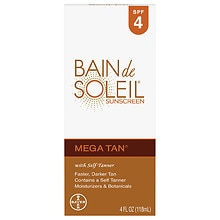 Mega Tan Sunscreen with Self Tanner Lotion, SPF 4