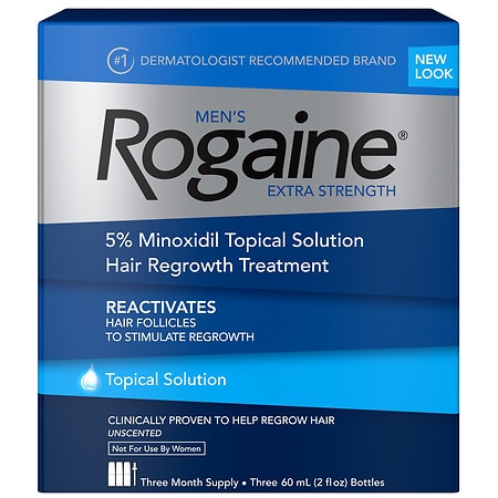 Men's Rogaine Extra Strength Hair Regrowth Treatment Topical Solution 3 Pack 3 Month Supply