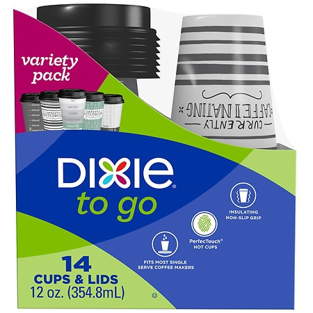 Dixie PerfecTouch Grab 'N Go Paper Cups & Lids (12 oz)