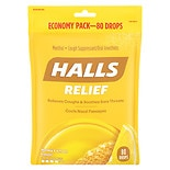 Halls Menthol Cough Suppressant Oral Anesthetic Drops Honey-Lemon