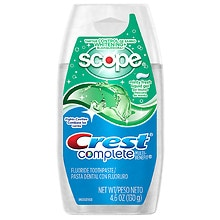 Complete Multi-Benefit Tartar Control Whitening + Scope Fluoride Toothpaste Liqu, Minty Fresh Striped