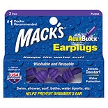 AquaBlock Earplugs, 2 PairsPurple