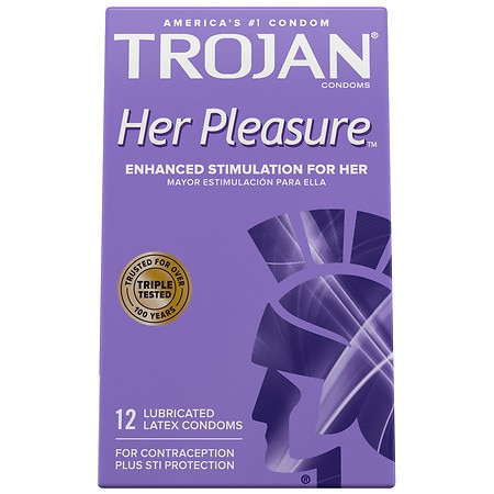 Trojan Her Pleasure Sensations Premium Lubricant Latex Condoms