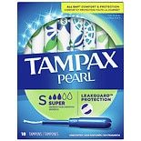 Tampax Pearl Tampons with Pearl Plastic Applicator Unscented,Super, 18 ea
