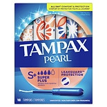 Tampax Pearl Tampons with Pearl Plastic Applicator Unscented,Super Plus, 18 ea