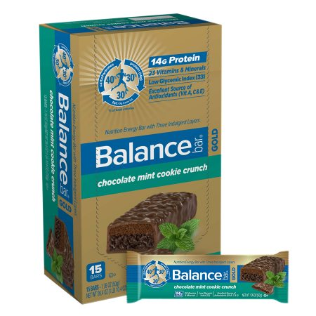 Balance Bar GOLD Nutrition Bar with Three Indulgent Layers Chocolate Mint Cookie Crunch