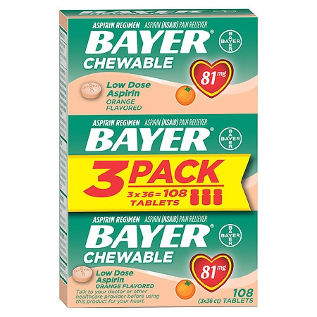 Bayer Low Dose Aspirin Pain Reliever, 81mg, Chewable Tablets, Value Pack Orange