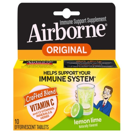 Airborne Effervescent Immune Support Supplement Tablets Lemon-Lime