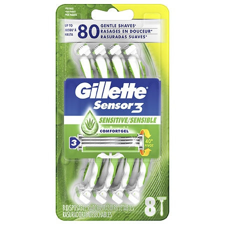 Gillette Sensor 3 Disposable Razors, Sensitive