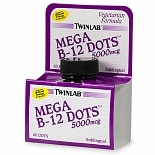 TwinLab Mega B-12 Dots 5000 mcg Dietary Supplement Tablets