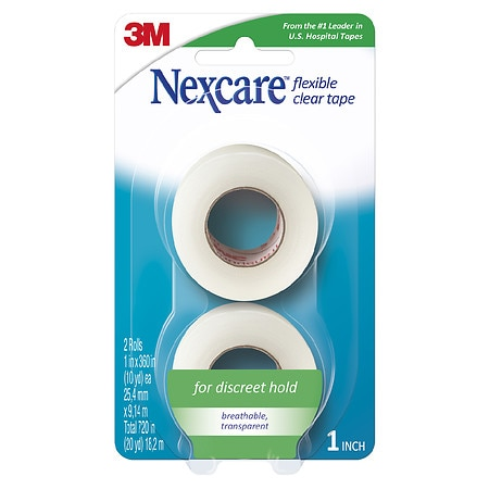"Nexcare First Aid Flexible Clear Tape 2 Pack 1"" x 360"" Rolls"