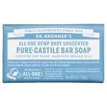 Dr. Bronner's All-One Hemp Pure-Castile Soap Bar Unscented Baby-Mild