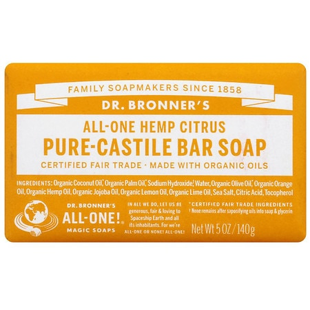 Dr. Bronner's All-One Hemp Pure-Castile Soap Bar Citrus Orange