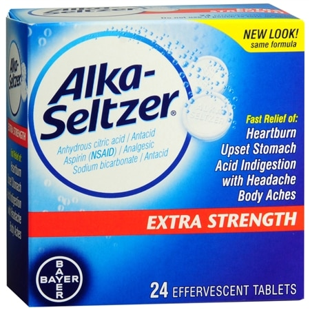 Alka-Seltzer Extra Strength Antacid & Pain Relief Medicine Effervescent Tablets