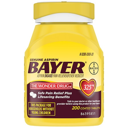Genuine Bayer Aspirin Pain Reliever, 325mg Tablets, Easy Open Cap, Value Size