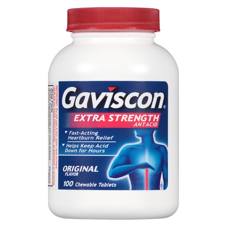 Gaviscon Extra Strength Chewable Antacid Tablets Original - 100 ea
