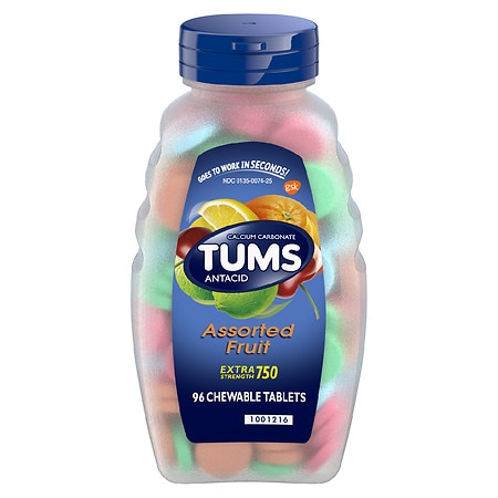 Tums Antacid Chewable Tablets for Heartburn Relief, Extra Strength Assorted Fruit - 96 ea