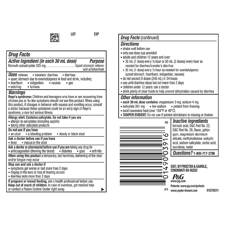 Pepto Bismol Upset Stomach Relieverantidiarrheal Liquid Original