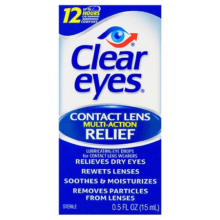 Clear Eyes Contact Lens Multi-Action Relief Eye Drops - 0.5 fl oz