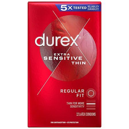 Durex Extra Sensitive Ultra Thin Premium Lubricated Latex Condoms - 12 ea
