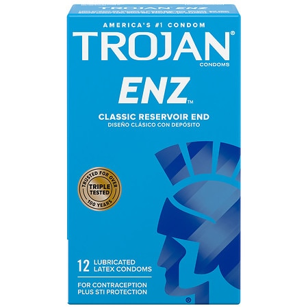 Trojan-Enz Lubricated Premium Latex Condoms - 12