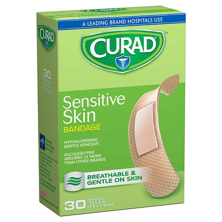 Curad Sensitive Skin Gentle Fabric Sterile Latex-Free Bandages 3/4 in x 3 in (19 x 76 mm) - 30 ea