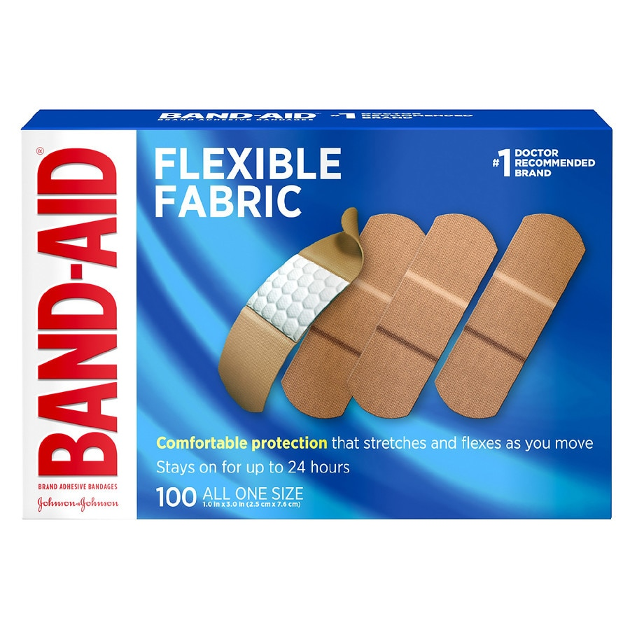 Band Aid Flexible Fabric Bandages All One Size 1 Inch 100 0 Ea